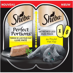 SHEBA perfect portions terrine poulet pour chat barquette, 6X37g