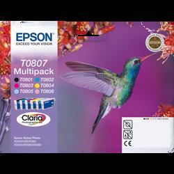 Pack 6 cartouches d'encre EPSON pour imprimante, T0807 Colibri, sous blister