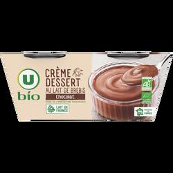 Crème dessert au chocolat au lait de brebis U BIO, 2x100g