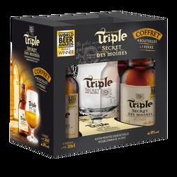 Coffret bière Secret Des Moines triple 8° 4x33cl+1 verre
