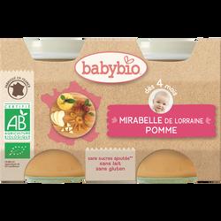 Pot mirabelle pomme BABYBIO, dès 4 mois, 2x130g