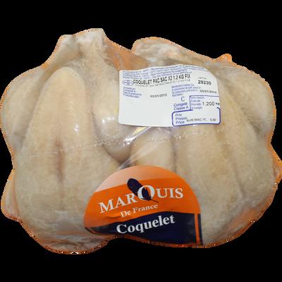 Coquelet prêt à cuire MARQUIS DE FRANCE, congelé 2 sacs de 1,2kg