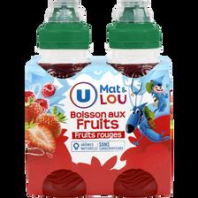 Boisson aux fruits rouges U MAT & LOU, 4 bouteilles de 20cl
