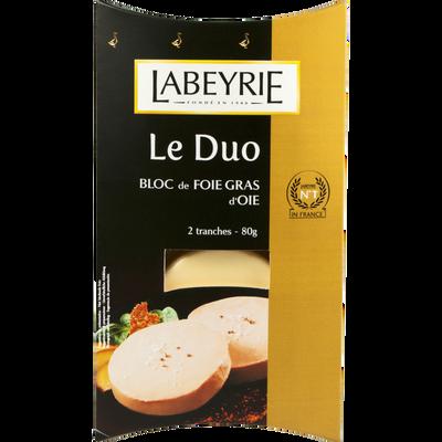 Duo bloc de foie gras d'oie LABEYRIE, 2 tranches de 80g