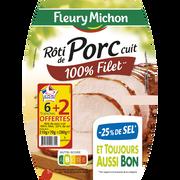 Fleury Michon Rôti De Porc Cuit -25% Sel Fleury Michon, 6 Tranches + 2 Tranches Offertes