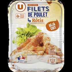 Filet de poulet rôti, U, barquette, 190g