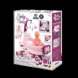 Nursery SMOBY Baby nurse électronique-23 accessoires et un poupon 30cminclus-fonctionne avec 2 piles lr03 non incluses-dès 3 ans-fabricationfrançaise