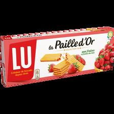 Gaufrettes fraises et fraises des bois paille d'or LU, paquet de 170g