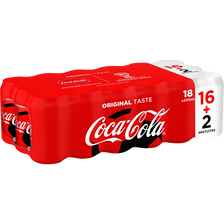Coca Cola Regular, 16x33cl + 2 Gratuites