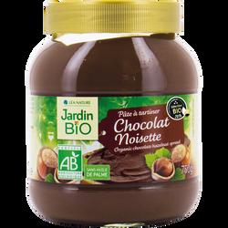 Pâte à tartiner chocolat noisette bio JARDIN BIO, pot verre 750g