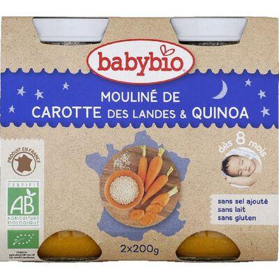 BABYBIO Bonne Nuit Mouliné Carotte Quinoa 2x130grs