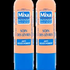 Stick pour les lèvres soin anti-dessèchement Intensif peaux sèches MIXA, 2x4,7ml