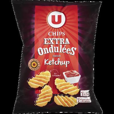 Chips extra ondulées saveur ketchup U, sachet de 120g