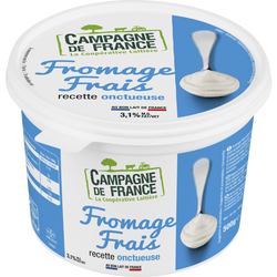 Fromage frais nature au lait pasteurisé CAMPAGNE FRANCE, 3,1% de MG, 500g