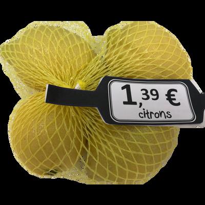 Citron jaune Eureka, calibre 4/5, catégorie 2, Argentine, filet 500g