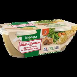IDEES DE MAMAN bols légumes petites pâtes veau 8 mois BLEDINA, 2x200g