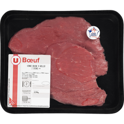 Viande bovine - Steak ** Genisse, U, Nouvelle agriculture, France, 2 pièces