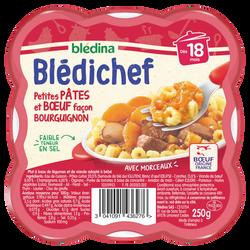 Assiette pour bébé légumes petites pâtes b uf façon bourguignon BLEDICHEF, dès 18 mois, 250g
