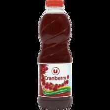 Boisson cranberry regular sans sucres ajoutés U, bouteille de 1l