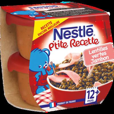 P'tite recette lentille jambon, NESTLE, 2 bols de 200g