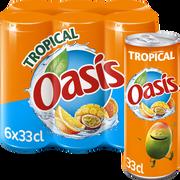 Oasis Boisson Rafraîchissante Aux Fruit Tropical Oasis, 6 Canettes De 33cl
