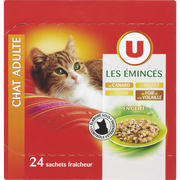Canard Emincés Gelée Pour Chat Au Canard, Au Poulet, À La Dinde, Au Foie, À La Volaille U, Sachet 24x100g