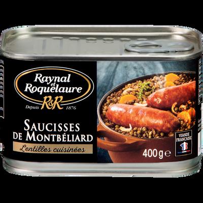 Saucisses de Montbéliard lentilles cuisinées RAYNAL ROQUELAURE, boîtede 400g