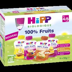 Gourde pommes poires bananes x2 /pommes pêches fruits des bois x2 /bananes poires mangues x2 /pommes ananas pêches x2 BIO dès 4/6 mois HIPP, 8x90g