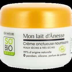 Crème nourrissante onctueuse au lait d'ânesse bio peaux sèches et trèssèches SO BIO, 50ml