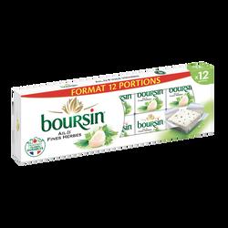 Fromage pasteurisé ail & fines herbes 40% de matière grasse BOURSIN, x12 soit 192g