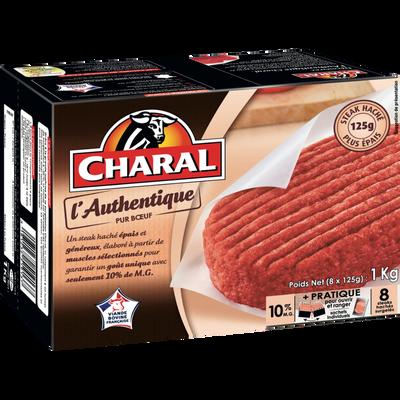 Steack haché L'Authentique CHARAL, 10% de matière grasse, 8 unités de125g