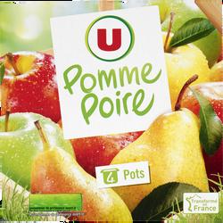 Dessert de fruits pomme/poire allégé en sucre U 4x100g