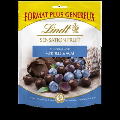 Bouchées de chocolat noir et c ur à la myrtille et açaï sensation fruit LINDT, sachet de 160g