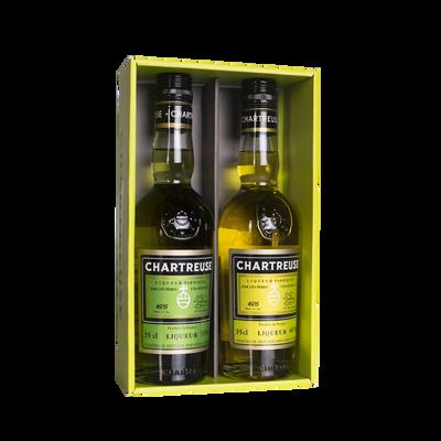 Coffret CHARTREUSE verte 55° et jaune 40° 2 bouteilles 35cl