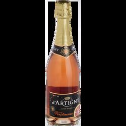 Cocktail pétillant sans alcool rosé pamplemousse D'ARTIGNY, bouteillede 75cl