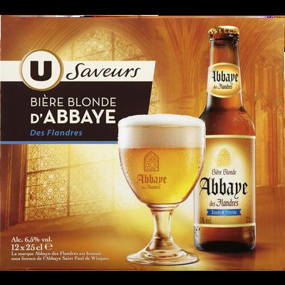 Bière blonde d'Abbaye des Flandres U SAVEURS, 6,5°, 12x25cl