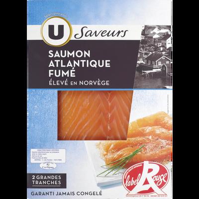 Saumon fumé de Norvège Label Rouge, U SAVEURS, 2 tranches, 80g