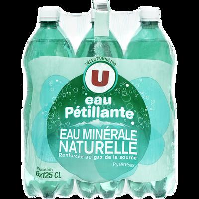 Eau minérale naturelle gazeuse U, 6 bouteilles en plastique de 1,25l