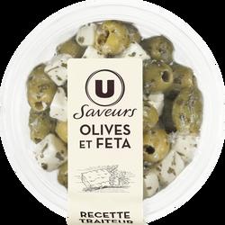 Olives vertes et cubes de feta Saveurs U, 150g