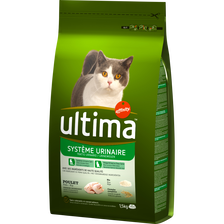 Croquettes pour chat protection du système urinaire au poulet et riz ULTIMA, 1,5kg