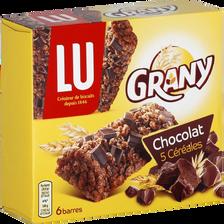 Barres aux céréales et chocolat GRANY, x6, 125g