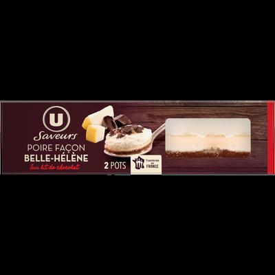 Dessert pâtissier poire façon belle Hélène sur lit de chocolat U SAVEURS, 2x90g