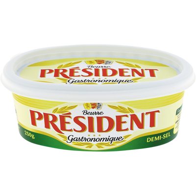 Beurre demi-sel 80% de matière grasse PRESIDENT, barquette de 250g