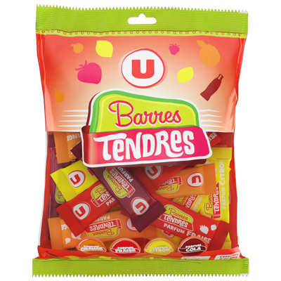 Bonbons barre plates pam U, 200g