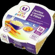 Assiette pour le soir carottes et pâtes U TOUT PETITS, dès 18 mois, 260g