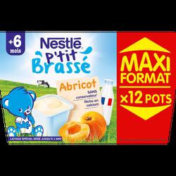 P'tit brassé abricot  NESTLE, dès 6 mois, 12 coupelles de 100g