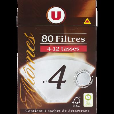 Filtres à café numéro 4  U, 80 unités + détartrant