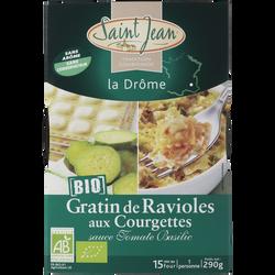 Gratin de ravioles & courgettes sauce tomate basilic bio SAINT JEAN ,290g