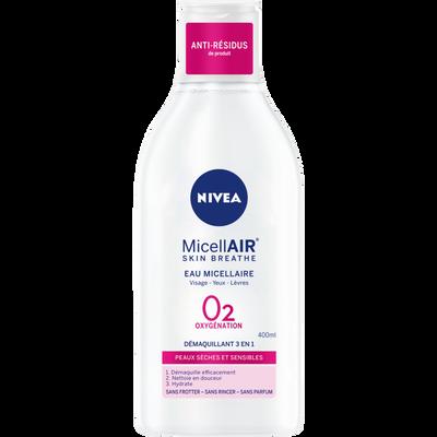 Démaquillant pour le visage micellaire 0% pour peaux sèches et sensibles NIVEA, flacon de 400ml