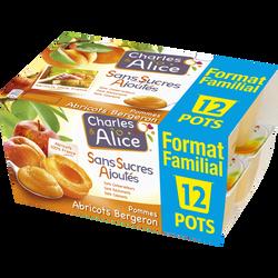 Spéc.de fruits pomme/abricot CHARLES&ALICE 12x100g for.fami.